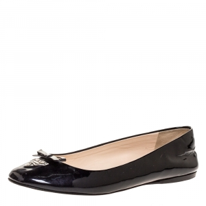 Prada Black Patent Leather Logo Bow Ballet Flats Size 37 - used