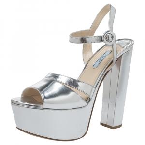 Prada Metallic Silver Leather Platform Block Heel Ankle Strap Sandals Size 40 - used
