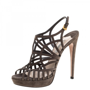 Prada Grey Suede Caged Peep Toe Platform Slingback Sandals Size 38 - used