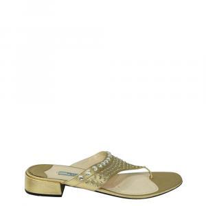 Prada Gold Patent Leather Embellished Sandals Size 39 - used