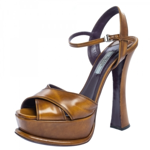 Prada Brown Leather Cross Strap Open Toe Platform Ankle Strap Sandals Size 38 - used