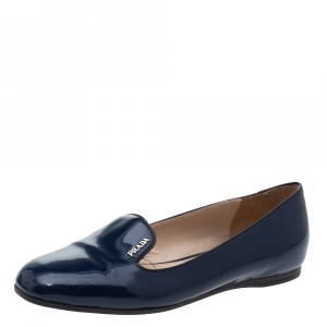Prada Blue Patent Leather Smoking Slippers Size 37 - used