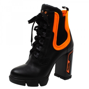 Prada Black/Orange Leather and Neoprene Neon Detail Lace up Ankle Boots Size 38