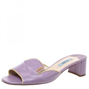 Prada Purple Patent Leather Open Toe Sandals Size 37.5 - used