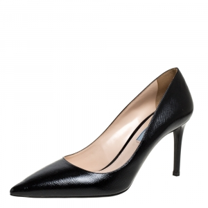 Prada Black Patent Leather Pointed Toe Pumps Size 40