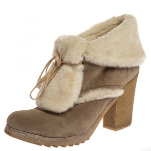 Prada Sports Beige Suede And Fur Shearling Trimmed Ankle Boots Size 40 - used