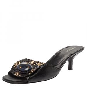 Prada Black Leather Embellished Open Toe Sandals Size 37