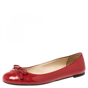 Prada Red Patent Leather Bow Ballet Flats Size 35.5