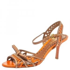 Prada Orange Leather Laser Cut Ankle Strap Sandals Size 37.5