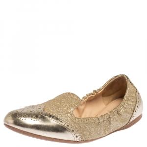 Prada Sport Gold Glitter Fabric And Patent Leather Brogue Scrunch Ballet Flats Size 37.5