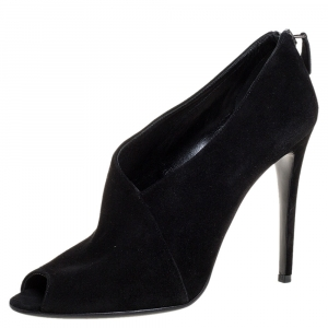 Prada Black Suede Leather Peep Toe Ankle Booties Size 38.5 - used