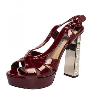 Prada Burgundy Patent Leather Crystal Embellished Strappy Slingback Platform Sandals Size 37