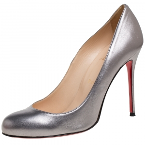 Christian Louboutin Silver Leather Simple Pumps Size 39.5