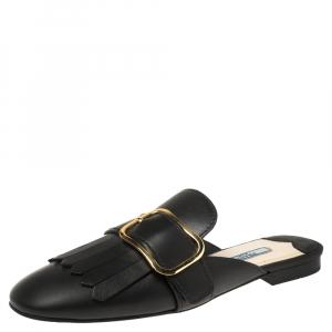 Prada Black Leather Fringe Mule Loafers Size 37