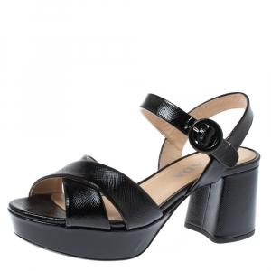 Prada Black Patent Leather Ankle Strap Platform Sandals Size 35