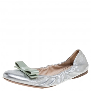 Prada Silver Leather Bow Scrunch Ballet Flats Size 40.5