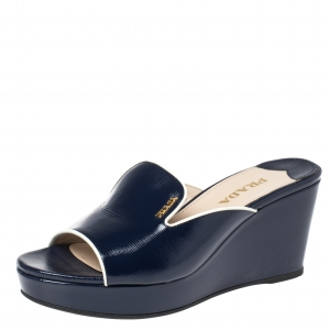 Prada Blue Patent Leather Wedge Slide Sandal Size 39