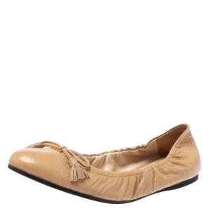 Prada Beige Leather Fringe Bow Logo Scrunch Ballet Flats Size 36