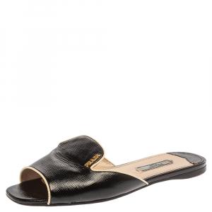 Prada Black Patent Leather Flat Slides Size 36.5