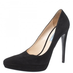 Prada Black Suede Pointed Toe Platform Pumps Size 40.5
