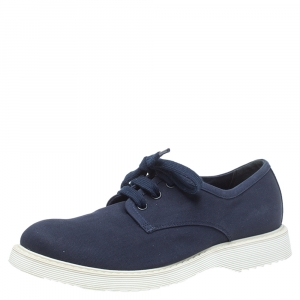 Prada Blue Canvas Lace Up Sneakers Size 37