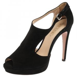 Prada Black Cut Out Suede Ankle Strap Platform Sandals Size 40 - used