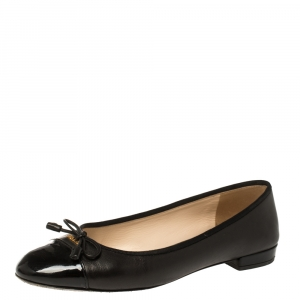 Prada Black Leather And Patent Leather Cap Toe Bow Ballet Flats Size 37 - used