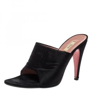 Prada Black Satin Vintage Pointed Toe Slide Sandals Size 37