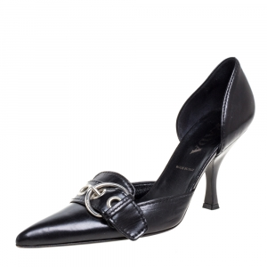 Prada Black Leather Buckle Detail Pointed Toe D'orsay Pumps Size 38