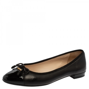 Prada Black Patent Leather Bow Cap Toe Ballet Flats Size 35