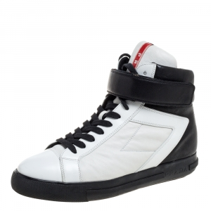 Prada Black/White Leather High Top Sneakers Size 37.5