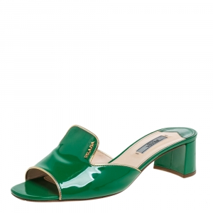 Prada Green Patent Leather Slide Mule Sandals Size 39