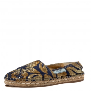 Prada Gold/Blue Brocade Fabric Slip On Espadrilles Size 39.5