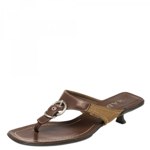 Prada Brown Leather and Nylon Buckle Thong Sandals Size 36.5