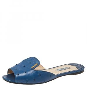 Prada Dark Blue Ostrich Slide Sandals Size 37.5 - used