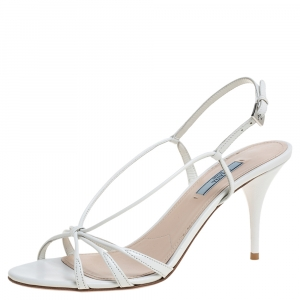 Prada White Leather Slingback Sandals Size 39 - used