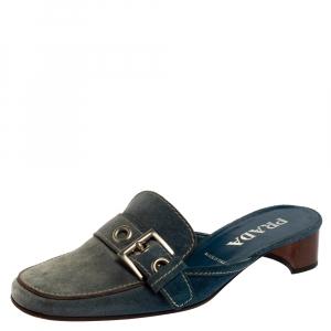 Prada Blue Denim Buckle Mule Sandals Size 38.5 - used