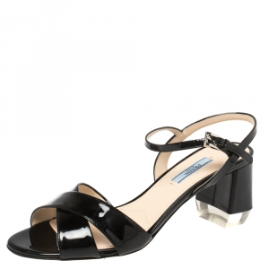 Prada Black Patent Leather Criss Cross Ankle Strap Block Heel Sandals Size 39.5