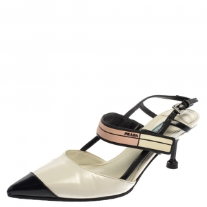 Prada Multicolor Leather And Rubber Trim Pointed Toe Slingback Sandals Size 34.5