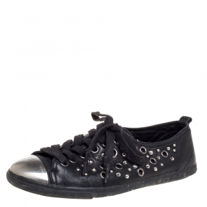 Prada Black Leather Grommet Sneakers Size 37