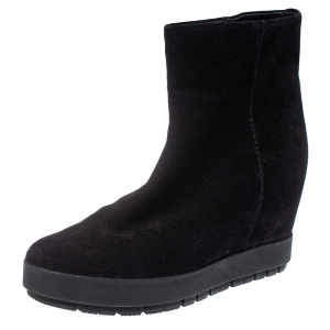Prada Black Suede Wedge Ankle Boots Size 40.5
