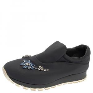 Prada Grey Nylon Crystal Embellished Slip On Sneakers Size 38.5