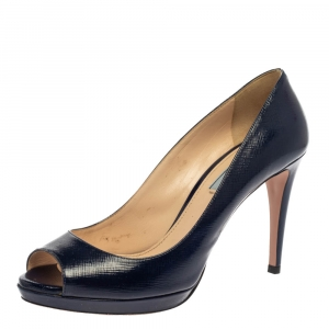Prada Navy Blue Saffiano Leather Peep Toe Pumps Size 39