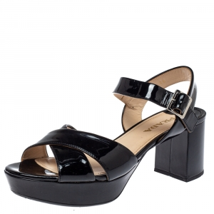 Prada Black Patent Leather Criss Cross Ankle Strap Block Heel Platform Sandals Size 38