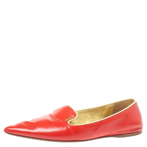 Prada Red Patent Saffiano Leather Pointed Toe Smoking Slippers Size 38.5