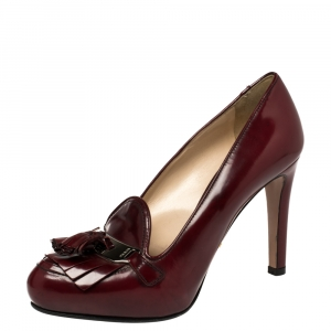 Prada Currant Red Leather Tassel Pumps Size 38