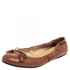 Prada Tan Leather Bow Ballet Flats Size 38.5 - used