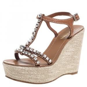 Prada Brown Leather Crystal Embellished T Strap Wedge Slingback Sandals Size 36.5 - used