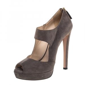 Prada Dark Grey Suede Peep Toe Platform Sandals Size 40 - used