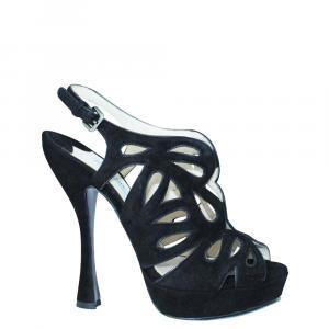 Prada Black Suede Sandals Size 37 - used
